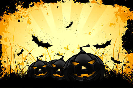 halloween cartoon: Grungy Halloween background with pumpkins  bats and full moon