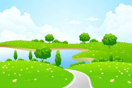 blue sky and fields: Green Landscape with lake tree road and flowers for your design