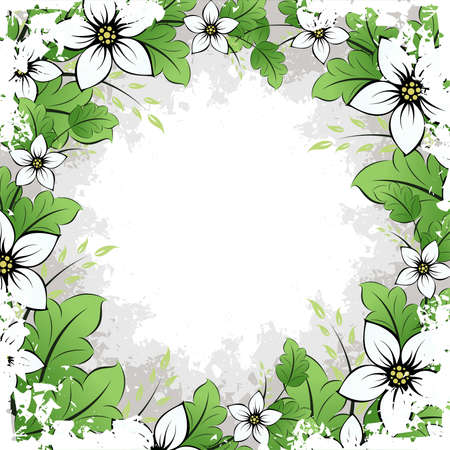 grunge leaf: Abstract Grunge Frame with flowers and leaves for your design Illustration