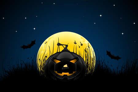 fruit bat: Halloween night background with pumpkin bats stars and moon