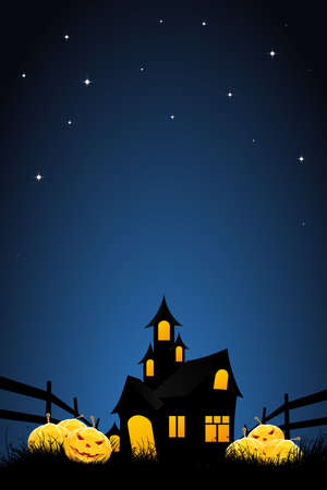 haunt: Halloween night background with pumpkins  house and stars Illustration