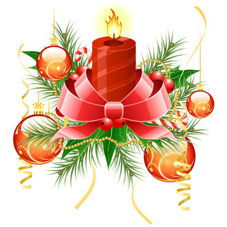 mistletoe: Christmas background with candle and decoration for your design Illustration