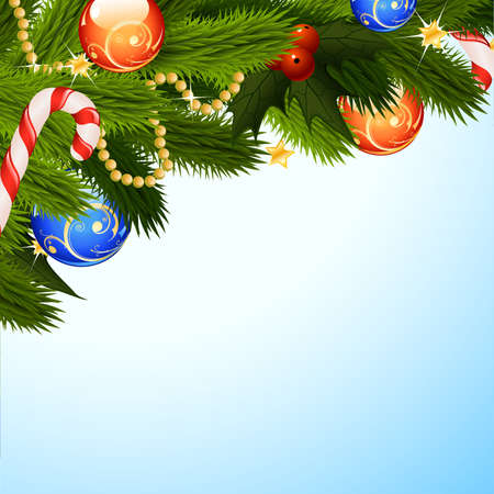 firtree: Christmas Background with fir-tree mistletoe and decoration for your design Illustration