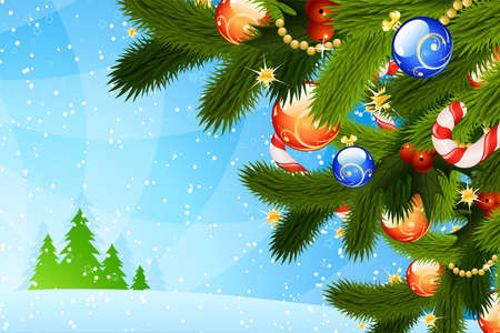firtree: Christmas Card with fir-tree sparkles and decoration for your design