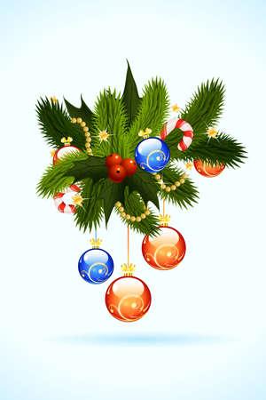 muerdago: Tarjeta de Navidad con muérdago abeto y decoración para el diseño