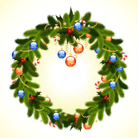 firtree: Christmas Wreath with fir-tree mistletoe and decoration for your design Illustration