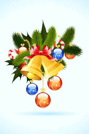 firtree: Christmas Card with fir-tree bells and decoration for your design Illustration