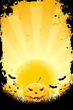 Halloween background with pumpkins bats and full moon Stock Vector - 10791802