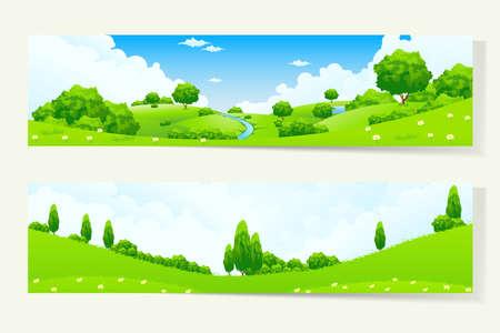 naturaleza: Dos Banderas verdes horizontales con paisaje de la naturaleza Vectores