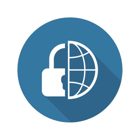 global security: Global Security  Icon. Flat Design. Business Concept Isolated Illustration.