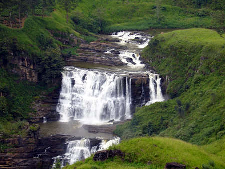 tea plantations:                                waterfall in sri lanka Stock Photo
