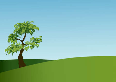illustration of tree on the meadow Stock Illustration - 2778975