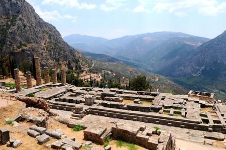 general view of Apollo temple in Delphi, Greece Stock Photo