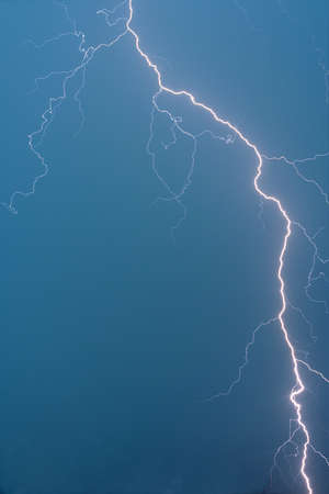 streak lightning: Lightning during thunderstorm from up to down