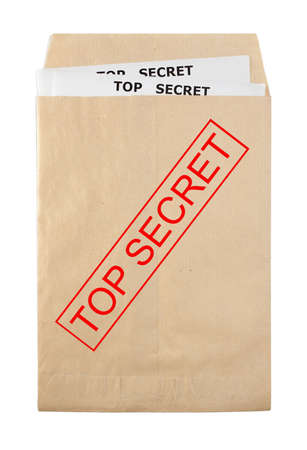 open rude envelope for document with top secret stamp and documents