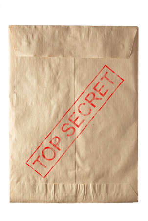 closed rude envelpe for documents eith top secret stamp photo