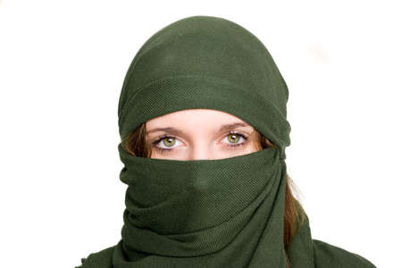 yashmak: green scarf cover face of girl