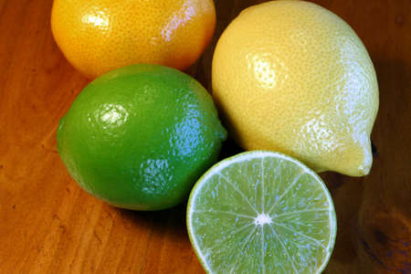 Lemon, Lime and Mandarin citrus fruits Stock Photo