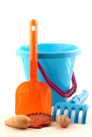 Colorful Beach Bucket, Spade and Shells