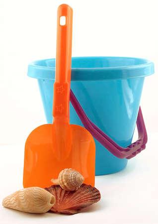 Colorful Beach Bucket, Spade & Shells