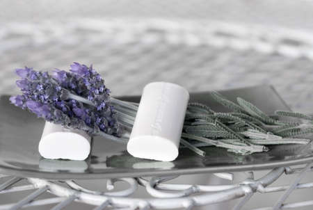 High Key French Lavender and Soap for Spa Stock Photo