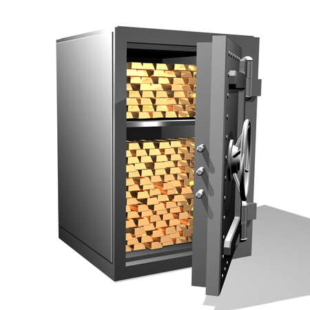 Gold ingots in the safe Stock Photo