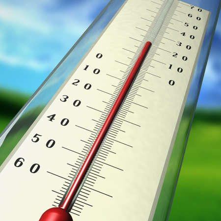 weather gauge: The thermometer shows temperature of air in the summer