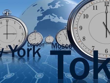 Timezone orologi mostrando tempo diverso