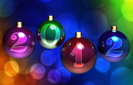 Christmas balls on colorful background photo