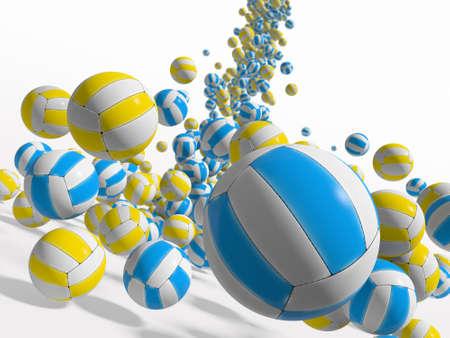 volleyball team: Falling balls.  3D rendered illustration.