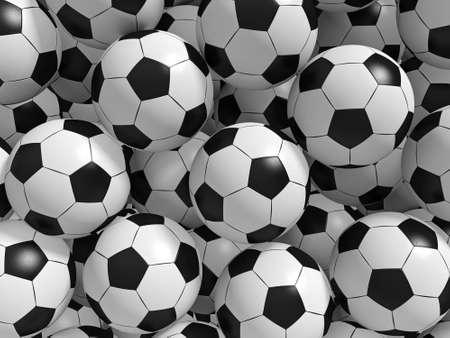 soccer balls: Sport balls background. 3d rendered illustration. Stock Photo