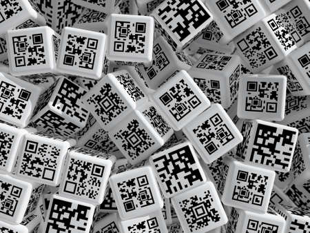 Cubi con codici QR. 3D rendering illustrazione.