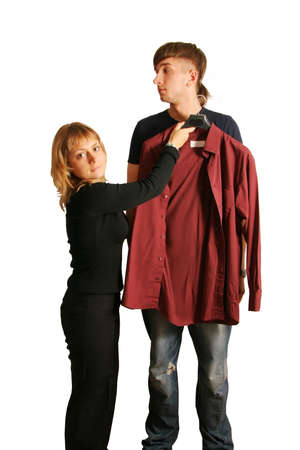 indifferent: Shop assistant helps the customer. Stock Photo