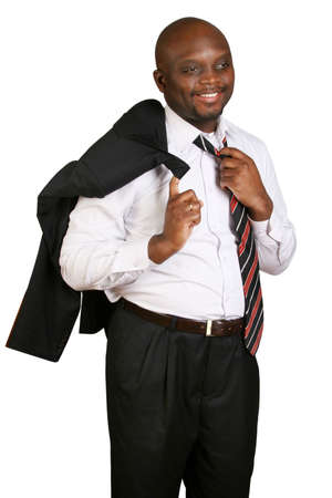 jornada de trabajo: Empresario en la final de la jornada de trabajo.