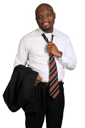 jornada de trabajo: Hombre de negocios en el final de una jornada de trabajo. Foto de archivo