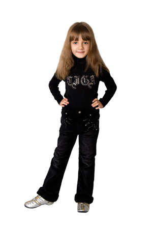 The girl in a black sweater and black pants Stock Photo