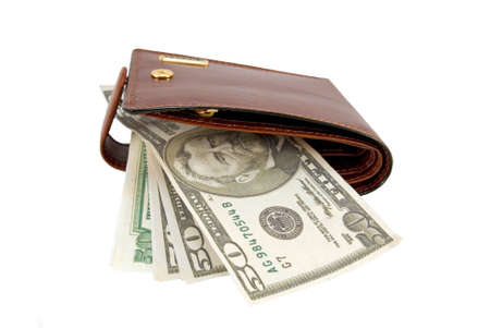 denominations: Brown leather wallet and fifty dollars denominations