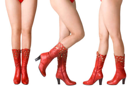 thigh: Female legs in red top-boots