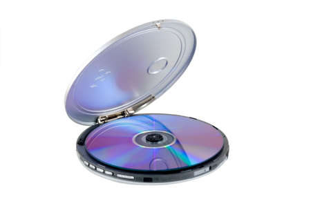 CD-player with disk is photographed on a white background