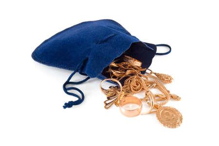 Gold jewelry in a dark blue velvet bag