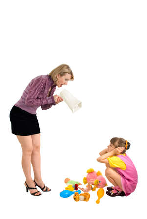 bawl: Mother shouts at the daughter in a megaphone