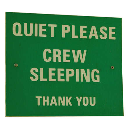 close quarters: Notice on the deck of a cross-channel ferry close to the crews quarters Stock Photo