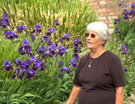 suntanned: Suntanned lady with a bank of irises Stock Photo