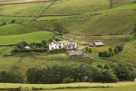 terracing: Pennine Farmhouse deep in a valley, surrounded by fields and dry-stone walls
