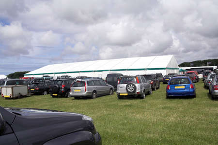 Event car-park with large white marquee