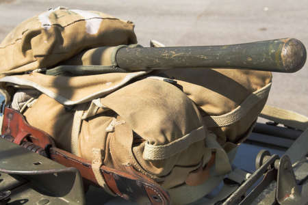 truncheon: Foot-soldiers World War II back-pack lying on the back of an army lorry