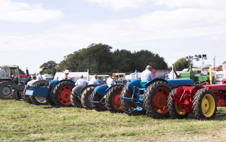 Line-up for the Great Tractor Race - all well cared for, ancient machines Stock Photo