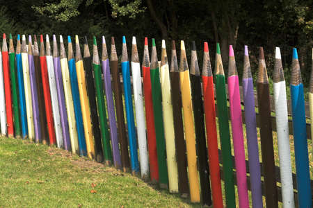 Close-up of section of imaginative playground fence