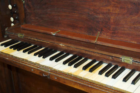 fingering: Keyboard of a well-used organ in a village church