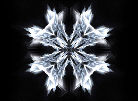suggesting: Fractal suggesting a snowflake against the night sky